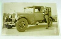 1920s-30s Photo Antique Car 1927 Pierce Arrow Man Straw Hat Fashion NY Plate