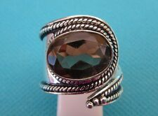 Silver Plate Over Copper Ring, Smoky Quartz UK Adj. R To T, US 8.50 +/- (rg2603)
