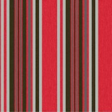 Marrakech Stripe Wallpaper Red Black Fabric Textured Silver Metallic Vinyl