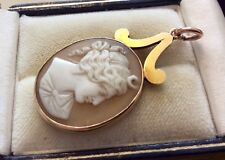Beautiful Ladies Antique Victorian Solid Gold Stunning Detailed Cameo Pendant