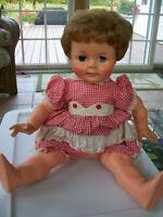 "22"" Vintage Kissy Doll  Ideal Toy Co K-21-L Original Dress  1960s K 22 EYES GOOD"