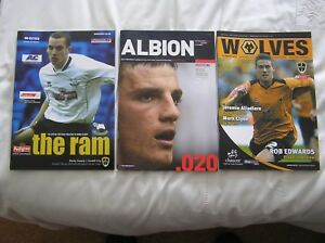 THREE OFFICIAL CARDIFF CITY AWAY PROGRAMMES v WBA, DERBY, WOLVES: WITH TICKETS