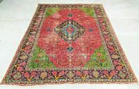 Overdyed Vintage Oriental Rug 6.3X9.4FT Hand Knotted 100% Wool Pile Carpet