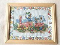 Framed Royal Doulton Bunnykins peter rabbit steam train cross stitch nursery