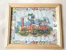 Framed Royal Doulton Bunnykins peter rabbit steam train cross stitch nursery
