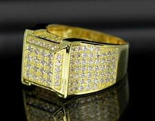 Square Style 14K Gold Plated Iced Out Pave Bling Hip Hop Mens CZ Ring Size 11