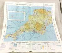 1980 Militare Map Cornwall Plymouth Sud Occidente UK Raf Aviazione Aeronautico