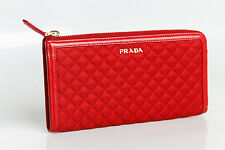 Authentic Prada 1M1183 Wallet in Stitched Quilted Pattern Blue Black Red & Pink