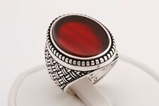 Turkish Jewelry Oval Cut Brown Agate 925 Sterling Silver Men's Ring All Sizes
