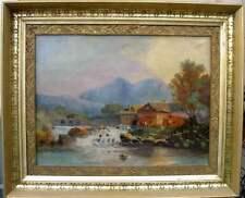 Antique 19th Century European Landscape Painting, Cottage on River, Period Frame