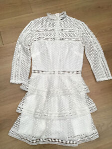 WOMENS OFF WHITE HIGH NECK RUFFLE EMBROIDERED DRESS BY PRETTYLITTLETHING SIZE 8