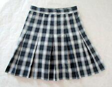 """School Apparel Blue Plaid uniform pleated Skirt sz 16 Reg 30"""" adjustable waist"""