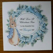 HANDMADE PERSONALISED CHRISTMAS CARD, PETER RABBIT WREATH