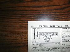 1972 Ford SIX Series Police & Taxi Models 103HP 240 CI L6 1BBL Tune Up Chart