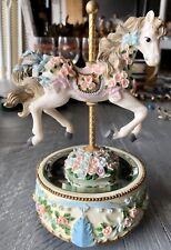 The San Francisco Music Box Company Carousel Horse, Bottom Mirror, Roses & Bows