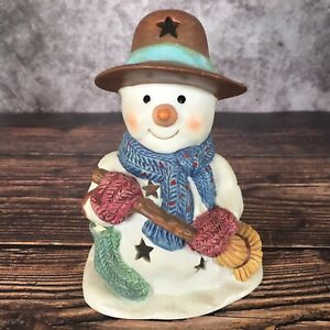 Sparkling Winter Snowman Tea Light Candle Holder by by New Creative Enterprises