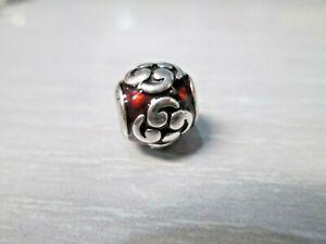 Pandora Zen Red Orange Enamel Sterling Silver Bead Charm 790491EN14