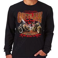 Velocitee Mens Long Sleeve T-Shirt American Outlaw Streetfighter Biker W20320