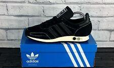 BNWB y genuino Adidas Originals LA entrenador Og Negro Retro Zapatillas Uk Size 8