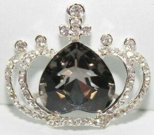 Rhinestone Crown with Black Rhinestone Heart Flatback Embellishment (LCJ79)