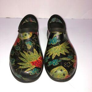 Sloggers Waterproof Rain/Garden Shoe Womens Size 8 Red Black Green Floral VGUC