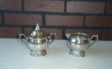 Vintage Silver Plate Creamer And Sugar Bowl Set