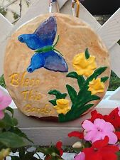 New listing Handcrafted wall plaque/butterfly/flowers/ indoor/outdoors/hanging/ga rden decor