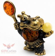 Solid Brass Amber Figurine Hippopotamus Hippo Behemoth tennis player IronWork