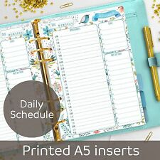 A5 Daily Schedule planner inserts - Appointment Book - Filofax A5, Kikki K