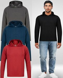 NEW MENS HOODIE HOODED TOP STRETCH LIGHTWEIGHT DISCRETE POCKETS UK FAST