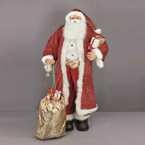 1.8m Life Size Large Santa with Long Red Coat and Christmas Present Sack