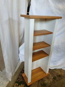 """Small Ikea CD/DVD or Display Cabinet in White & Teak 27.5""""H x 12.5""""W x 6 3/8""""D"""