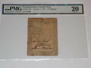 PENNSYLVANIA COLONIAL NOTE PMG 20 Very Fine 1773 10 Shillings Ten PA Shilling