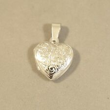 .925 Sterling Silver HEART Picture LOCKET W Etched FLOWERS Pendant NEW 925 LK39