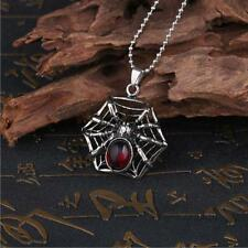 Men's Silver Stainless Steel Red Stone Spider Pendant Necklace Chain Jewelry