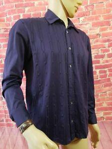 HUGO BOSS Mercerized Cotton Eggplant Purple Long Sleeve Casual Men's Shirt Sz L
