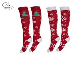 Elico Christmas Horse Ladies Riding Socks Equestrian One Size 38-42 FREE P&P