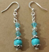 Turquoise Natural Gemstone & Blue Crystals Stylish SP Hook Earrings Handmade