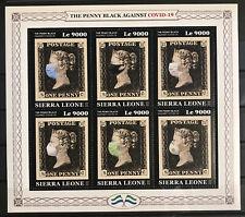 Sierra Leone COVID2019 Block, CORONA-Spezialbriefmarke mit Penny Black, 2020