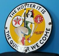 VINTAGE TEXACO GASOLINE PORCELAIN FIRE CHIEF RESCUE GAS MOTOR OIL SERVICE SIGN