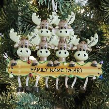 Moose Deer Family of 6 Personalized Christmas Thee Ornament