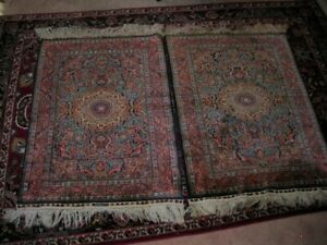 FINAL SALE!  PAIR EXCEPTIONAL SIGNED  ORNATE 2X3 HEREKE CHINESE RUGS 900 KPSI