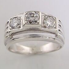 Estate White Gold .50tw 3-stone Round Diamond Engagement Ring or Right Hand Band