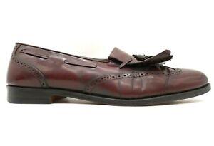Salvatore Ferragamo Burgundy Leather Kilt Tassel Wingtip Loafers Shoes Mens 11 B