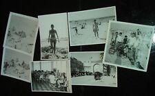 Old Coronet Cooler + bikini babe group shot, 7 vintage beach snapshot photo LOT