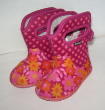 BOGS BABY GIRLS WARM BOOTS SHOES INSULATED SNOW HIKING size US 4 PINK FLOWERS