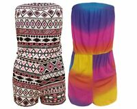 Ladies Zig zag Aztec Print Womens Strapless Boob Tube Pocketed Jumpsuit Playsuit