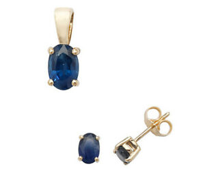 Sapphire Pendant and Earrings Set Oval Solitaire 9ct Yellow Gold Hallmarked