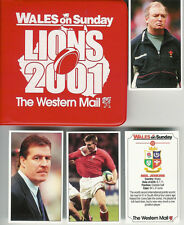 """WALES ON SUNDAY """"Lions 2001"""" Full Set 40 Rugby Cards In Official Wallet"""