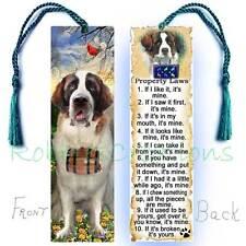 Large Saint Bernard Bookmark Tassel Dog Rules Property Law-Book Mark Art Card St